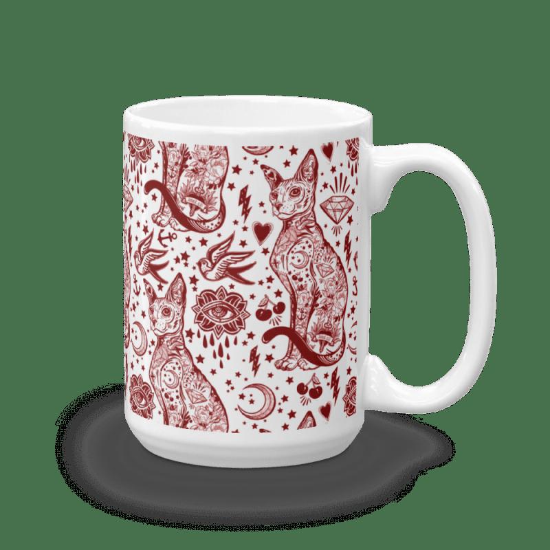 Sphynx Cat coffee mug, Bohemian Valentine Red and White Cat Pattern Tattoo Mug