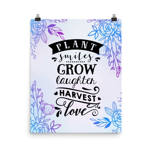 Plant Smiles Grow Laughter Wall Art Print