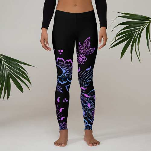 Black Floral Butterfly Leggings