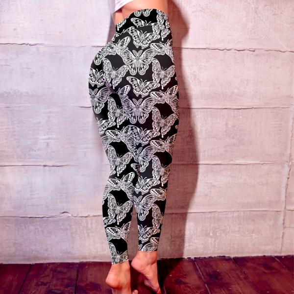 Sweet Butterfly Classic Black Womens Leggings