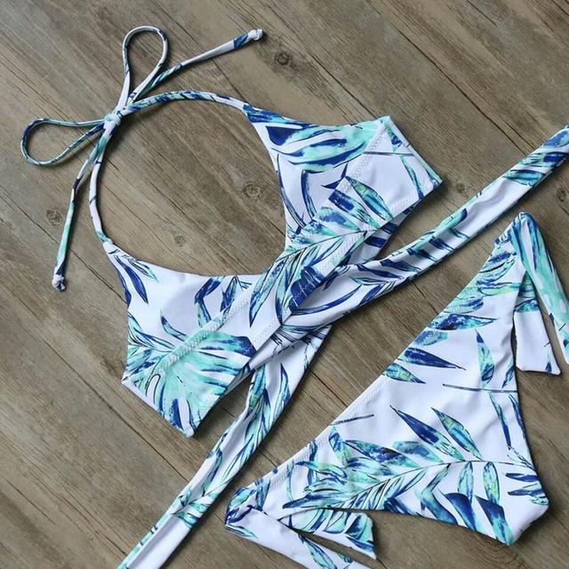 Blue Tropical Floral Print Bikini