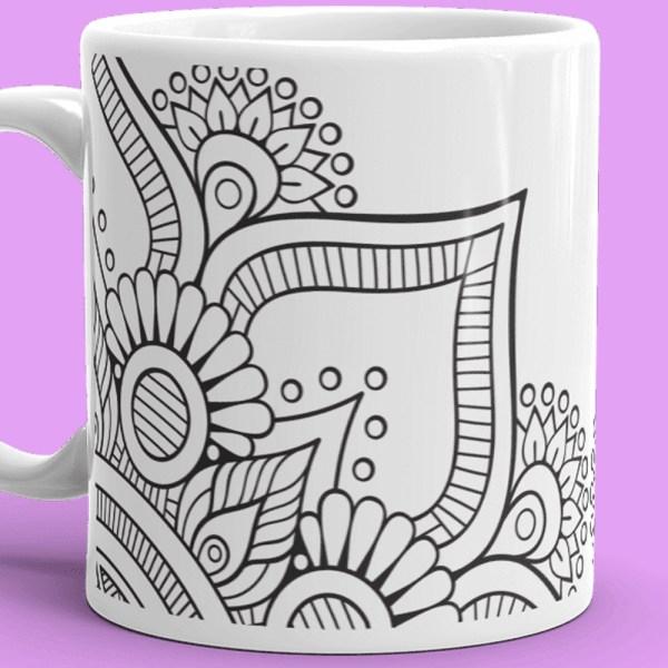 Floral Black, and White Tattoo Mug