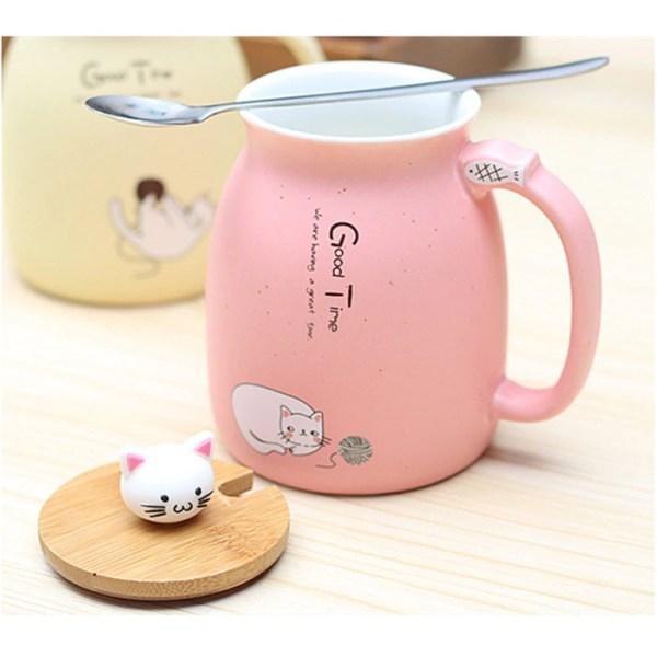 Kawaii Anime Kittens Coffee Mug With Lid - Heat Resistant Cat Mug