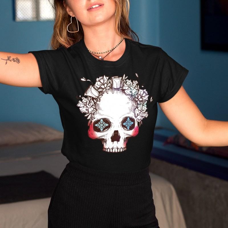 Floral Half Skull T-Shirt