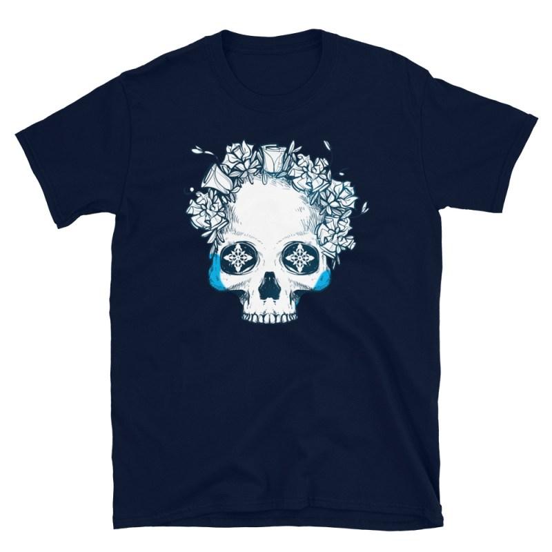 Icy Blue Floral Half Skull T-Shirt