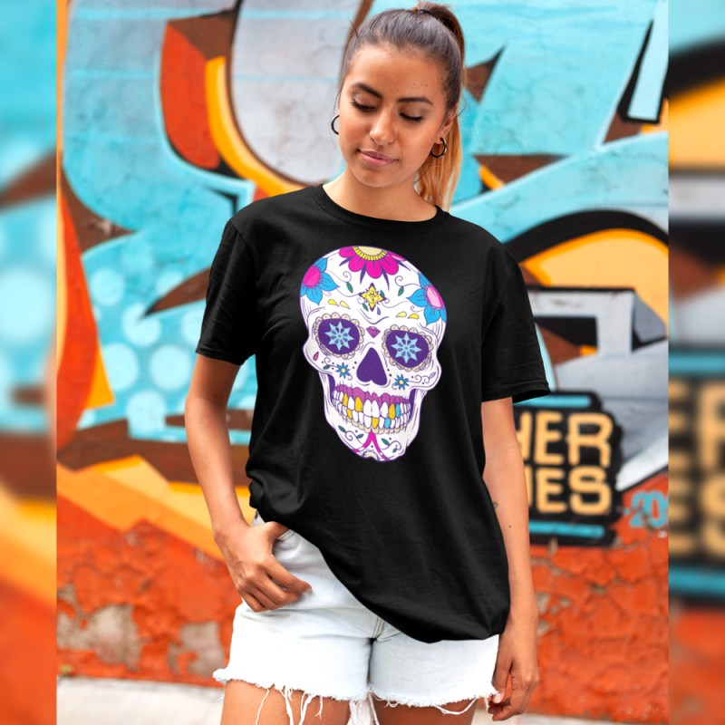 Colorful Floral Head Sugar Skull T-Shirt