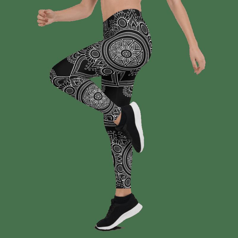 Black Bohemian Queen of Queens Mandala Leggings