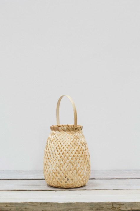 OTTA WOVEN BAMBOO LANTERN NATURAL MEDIUM - £25.00