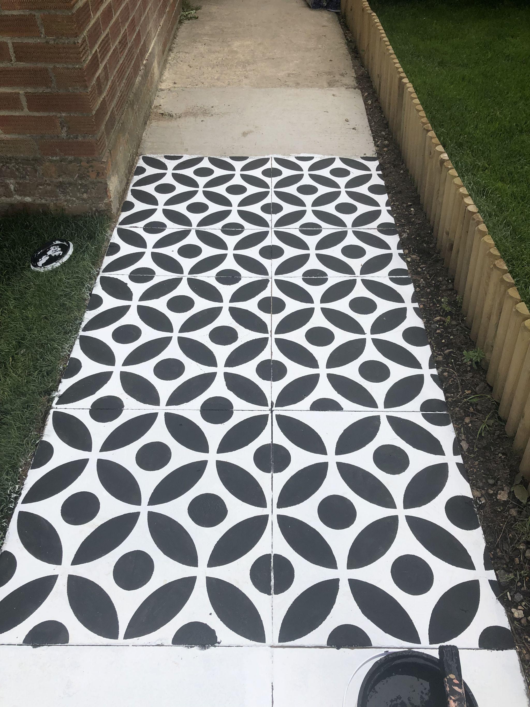 how to stencil a concrete patio or path