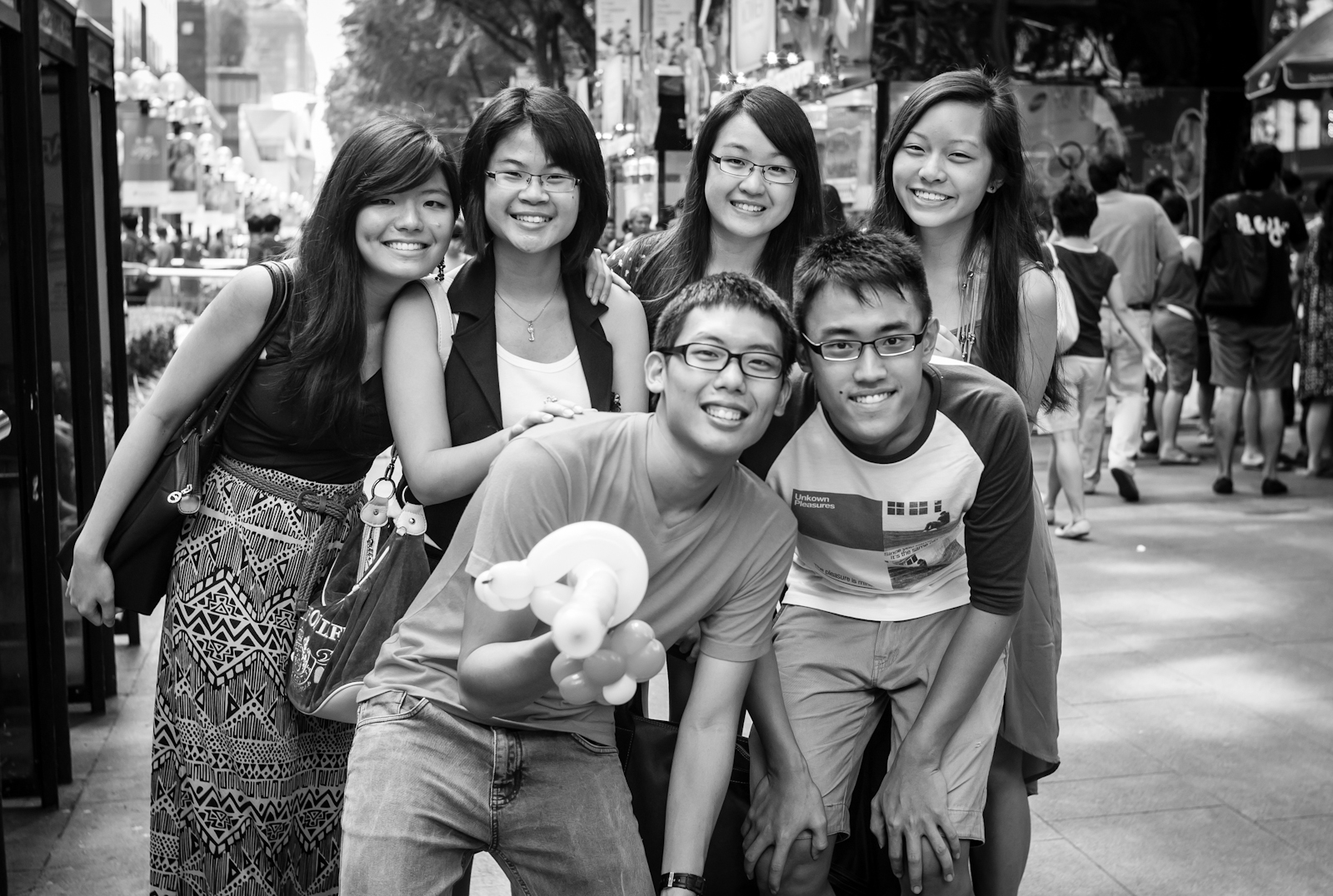 A group of friends along Orchard Road