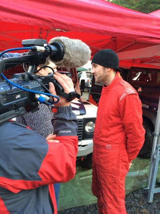 Defender Champ Edd Cobley being interviewed for Motors TV