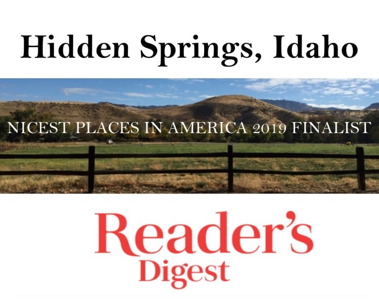 Hidden Springs Idaho - nicest place to live Finalist in Reader's Digest
