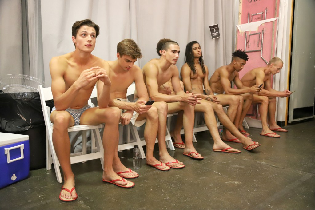 The Parke and Ronen 2019 show heated up NYFWM with muscle beach boys in retro graphics swimwear.