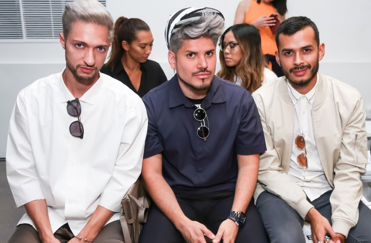 Jhonatan Rendon, Andy Duran, Jorge Gallegos front row at Fashion Guerilla SS16 Runway Show (Photo Will Ragozzino/BFA.com)