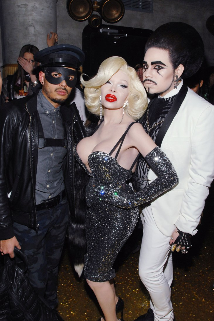 Jorge Gallegos, Amanda Lepore and Estoban Martine at MAC Invites You To THE BLONDS FASHION WEEK AFTER-PARTY February 2014 (Photo - Liam McMullan / PatrickMcMullan.com)