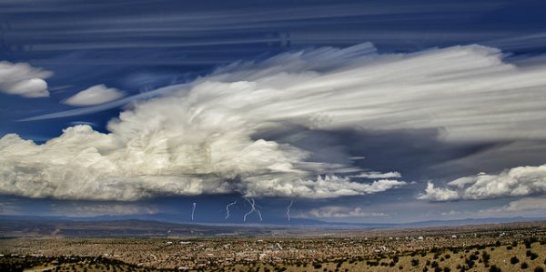 Photo: John Fowler, Clouds over the Sandia Mountains