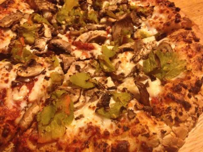 Photo of Upper Crust Pizza - Santa Fe, NM. green chile and mushroom pizza