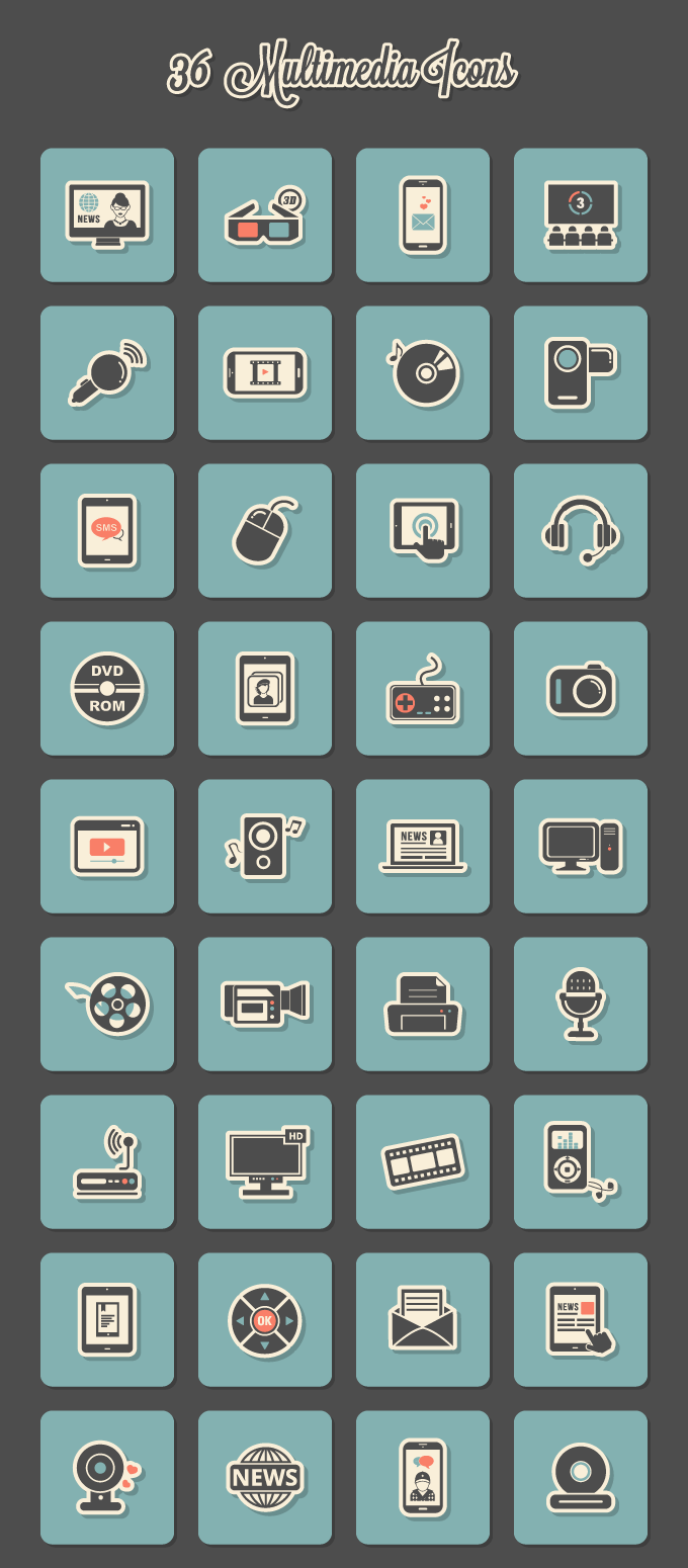 Preview of 36 Retro Sticker Multimedia Icons