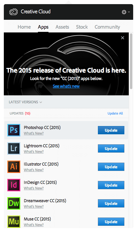 Updating Creative Cloud Step 1