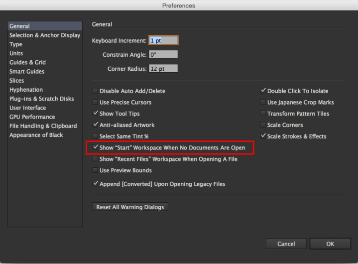 Figure 6: Disabling the Start workspace in Adobe Illustrator CC.