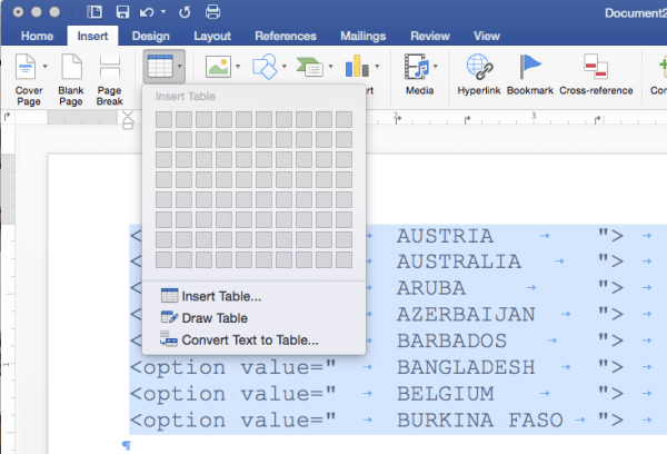 Figure 4: Choosing Convert Text to Table from the Insert tab on the ribbon.