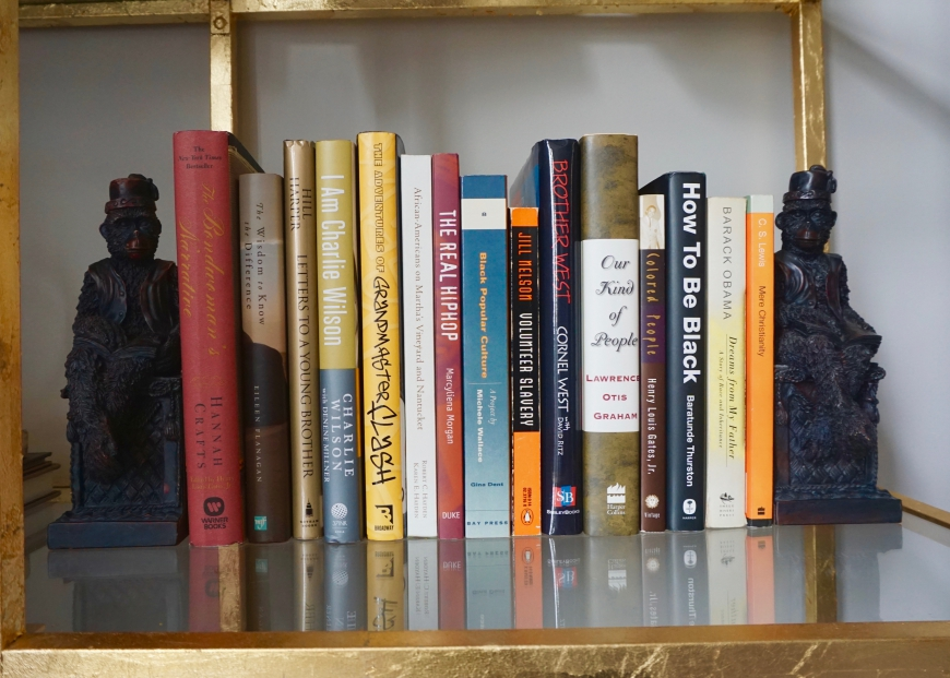 how to decorate with personality - monkey bookends - http://iamsherrelle.com