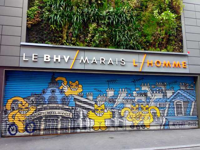How To See Paris in 4 Days: A mural outside BHV, Le Marais