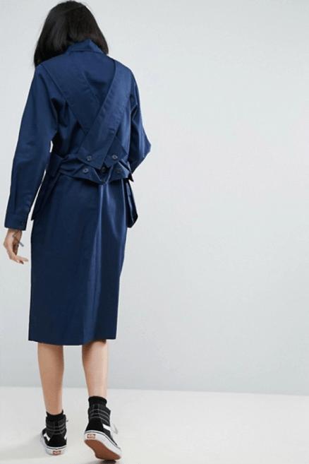 ASOS WHITE 3D Pocket Cross Over Shirt Dress £75 → £52.5