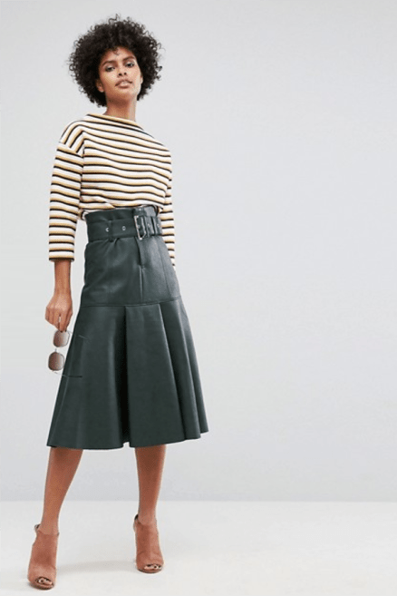 ASOS Leather Look Midi Skirt with Belt £48 → £33.6