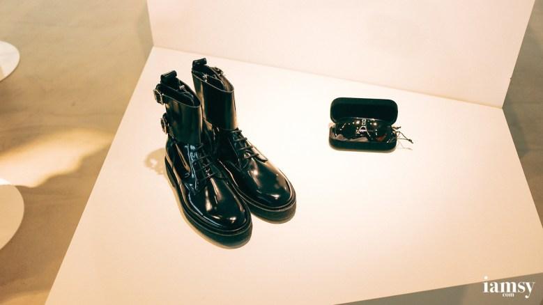 (left) Black Leather Boots HK$1990, (right) Sunglasses HK$399