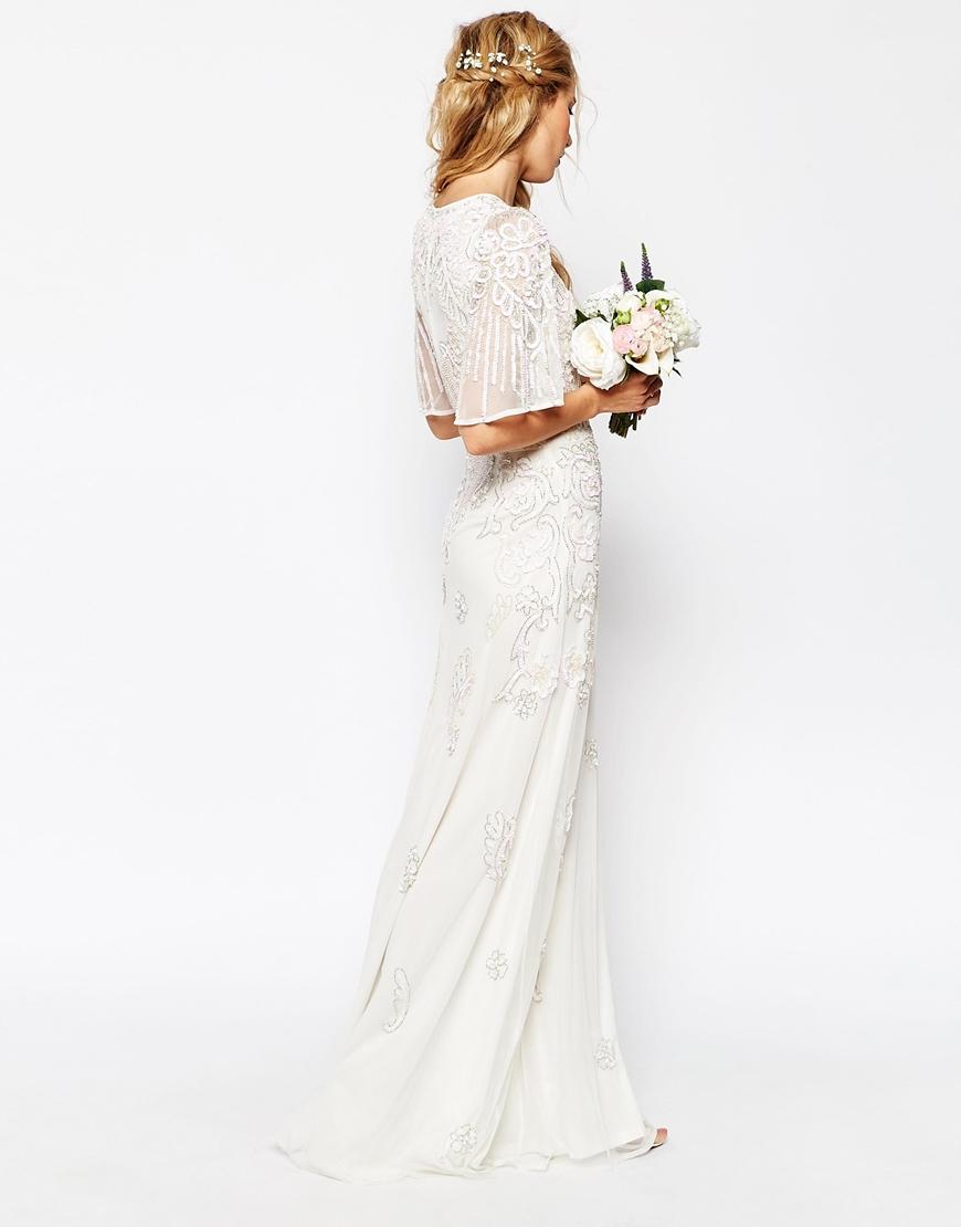 ASOS BRIDAL Iridescent Flutter Sleeve Maxi Dress HKD$ 1,874.97
