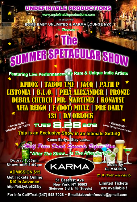 Tabou TMF Live at Summer Spectacular Show @ Karma Lounge NYC