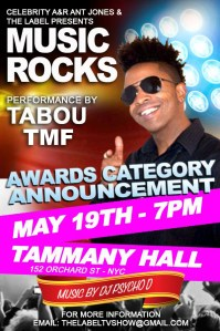 Undefinable One aka Tabou TMF Performing Live at Music Rocks Summer Concert Series May 19th 2014 at Tammany Hall in New York City