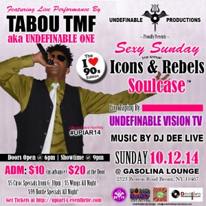 Click here to get Discount Tickets for The Undefinable Productions 2nd Annual Icons & Rebels Showcase - Day Party & Indie Concert october 12th 2014 @ Gasolina Lounge
