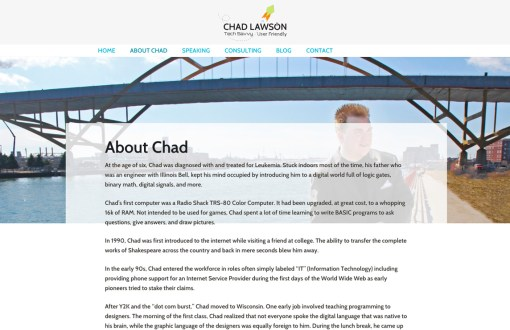 chadlawson.me - secondary page design on desktop