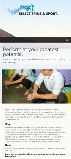 Select Spine and Sport - mobile view