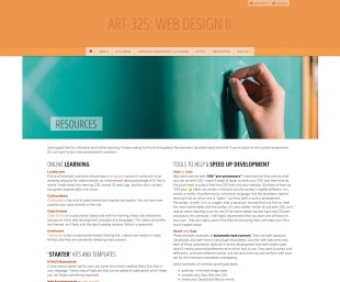 Web II resource section on a desktop