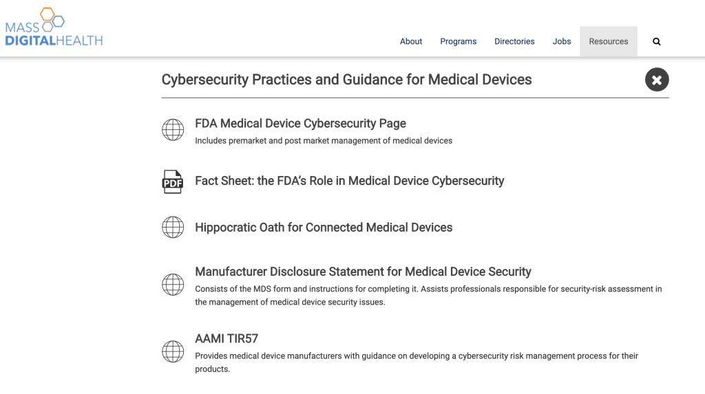 Screenshot of the Mass Digital Health website, showing the I Am The Cavalry Hippocratic Oath for Connected Medical Devices among their medical device cybersecurity practices