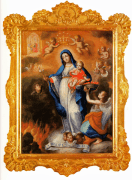 Ntra. Sra. de la Luz. Óleo sobre tela con marco de recorte, esgrafiado y dorado. Juan Pedro López. Ca. 1760.