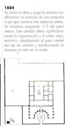 Planta de la primera edificación de la Villa en 1884, con patio central desplazado del eje simétrico y organización básica de su arquitectura, exedra en la entrada principal. (Tomado de la revista Memoriales 1, pág. 41., ver ref.)