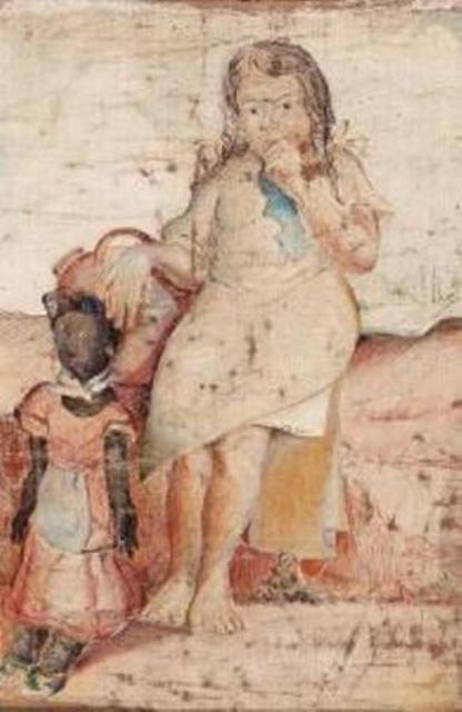 Muchachita sentada con una muñeca y una pimpina de agua