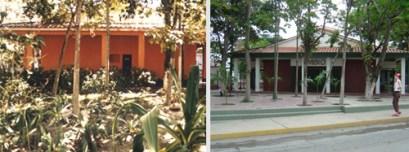 La fachada antes y después de la remodelación del arquitcto Joel Sánz. Foto Víctor Sánchez Taffur.