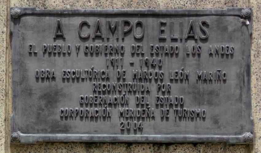 Placa de bronce ubicada en el lateral derecho del pedestal, mayo 2017. Foto Samuel L. Hurtado Camargo
