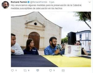 El alcalde del municipio Arismendi, Richard Fermín, anuncia medidas municipales para preservar la catedral de la Asunción.