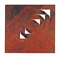 Estudio para cinco cuadrados. 1997. Acero 50 x 50 x 7 cm. pieza del escultor venezolano Carlos Medina.