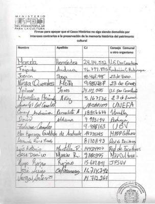 Firmas de la Declaratoria del centro histórico de Barinas. Patrimonio cultural venezolano.