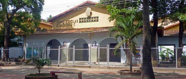 Fachada del Grupo Escolar Estado Guárico, monumento histórico nacional de Venezuela.