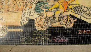 CEl vandalizado mural de Pedro León Zapata, de la UCV. iudad universitaria de Caracas, declarada Patrimonio de la Humanidad en el año 2000 por la UNESCO. Venezuela.