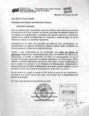 Solicitud de la declaratoria del centro histórico de Barinas. Estado Barinas. Foto Dig. Marinela Araque.