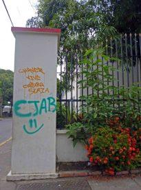 """Un """"Chávez vive"""" denigra la columna del liceo O'Leary. Patrimonio histórico de la ciudad de Barinas, estado Barinas, en peligro. Venezuela."""